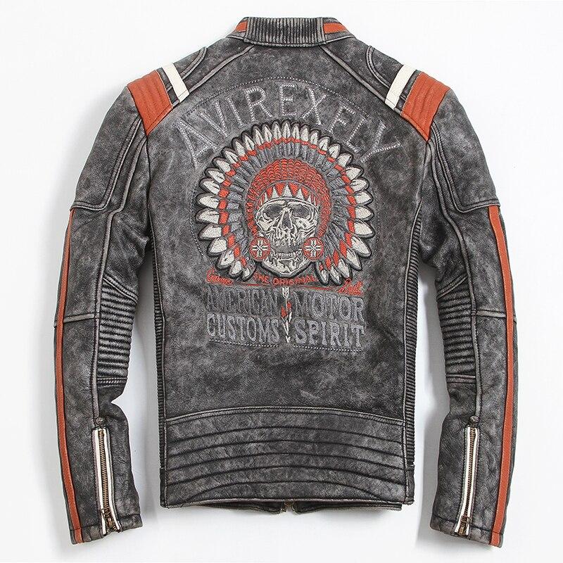 2019 Vintage Black Men Leather Motorcyclist Jacket Skull Embroidery Plus Size 3XL Genuine Cowhide Short Biker 2019 Vintage Black Men Leather Motorcyclist Jacket Skull Embroidery Plus Size 3XL Genuine Cowhide Short Biker Coat FREE SHIPPING