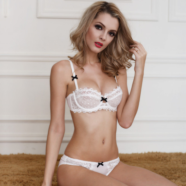 Tic-tec Sexy 3/4 Floral princesa Underwear Bra Set VS Push Up Bra e bordado oco para segredo mulheres arco P2369