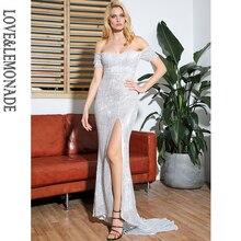 LOVE & LEMONADE Сексуальное Серебряное облегающее Макси-платье с коротким рукавом и разрезом LM81727