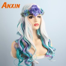 Anxin Sweet Long Body Wavy Colorful With Flower Bwoknot Accessories Party Anime Heat Resistant Synthetic Wig For Women Girls