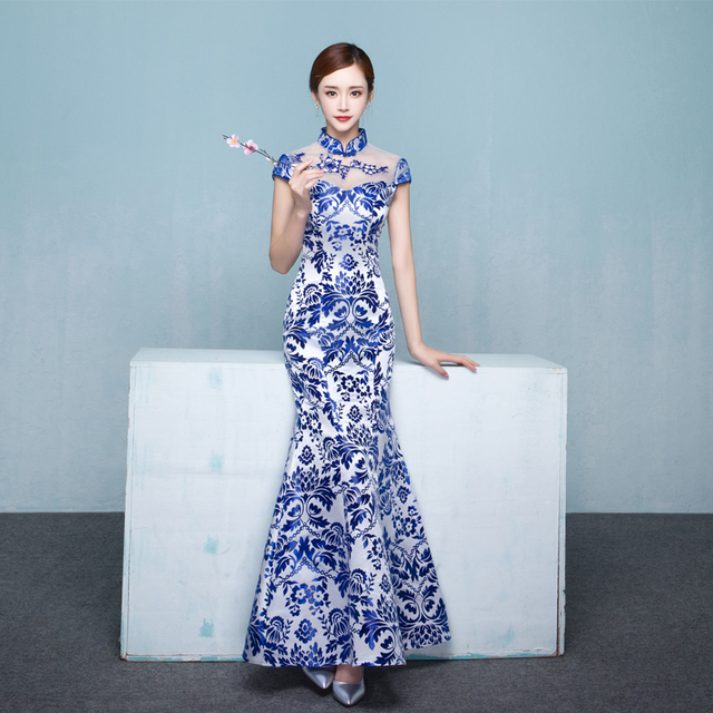 Chinese Wedding Dress.Us 53 95 25 Off Modern Qipao Long Cheongsams Chinese Wedding Dress Blue White Satin Cheongsam Design Traditional Vestido Oriental Style Dresses In