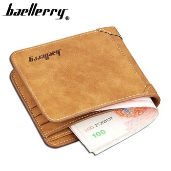 High Quality Soft Leather wallet men vintage style Baellery brand men wallets leather purse male credit card holder money bag