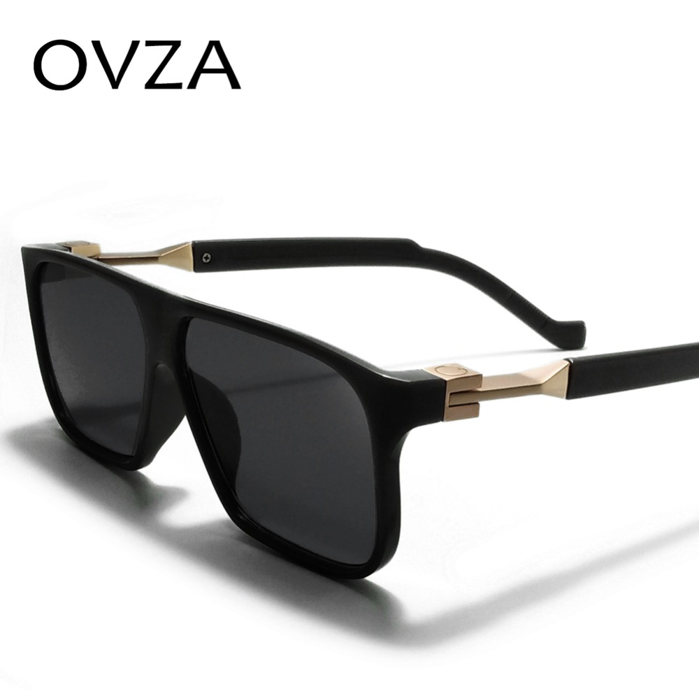 OVZA Fashion Sunglasses Retro Black Designer Mens Rectangle For Brand Vintage S6095