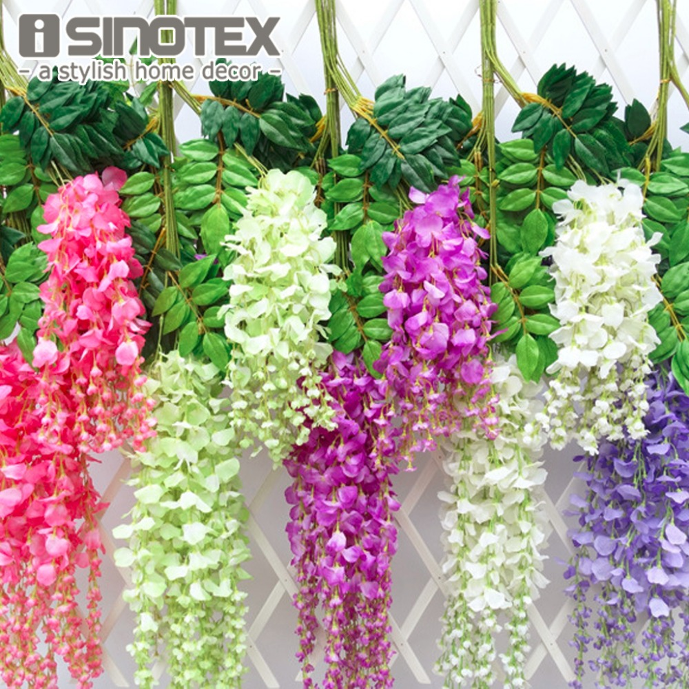 12pcs lot 110cm artificial flower hanging plant silk for Artificial flower for wedding decoration