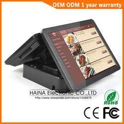 Хайна Touch 15 дюймов двойной Экран Сенсорный экран NFC pos-терминал двойной Экран