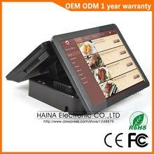 Haina сенсорный 15 дюймов двойной экран сенсорный экран NFC pos терминал двойной экран