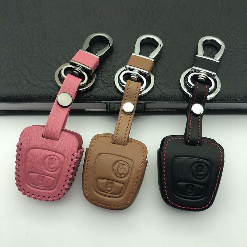 Чехол для автомобильного ключа gzyoumei, кожаный чехол для Citroen c4 c5 Berlingo; Picasso Xsara Picasso Aygo для Peugeot 206 207 307 107 406 408
