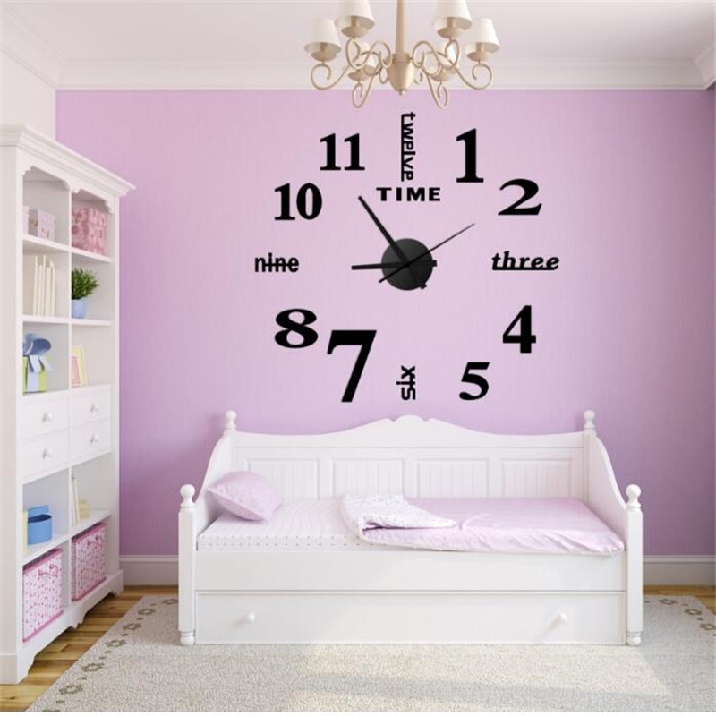 DIY Watch Wall Clock Modern Math Horloge Wall Wanduhr Mirror Silent Living Room Sticker Quartz Clock Watch Decor For Home Klok