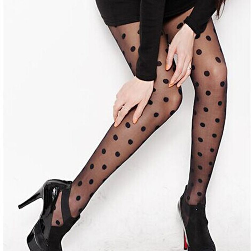 Women Sweet Girls Acrylic Fiber Thin Pantyhose Sexy Perspective Large Polka Dot Pattern Printed Footed Tights Slim Stockings