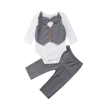 ff543ad28 Caballero pajarita Tops Bodysuit manga larga pantalones 2 piezas conjunto  Formal traje infantil recién nacido niños Bebés Ropa Set 0-24 m