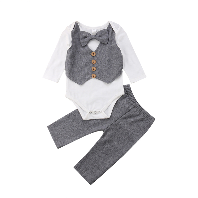 32faf8076a9f Gentleman Bow Tie Tops Bodysuit Long Sleeve Pants 2Pcs Set Formal Suit  Outfits Newborn Infant Baby Boys Clothes Set 0 24M-in Clothing Sets from  Mother ...