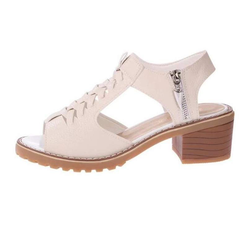 COVOYYAR 2018 Retro Weave Women Sandals Summer Peep Toe Side Zip Slingback Lady Sandals Square Heel Platform Women Shoes WSS813
