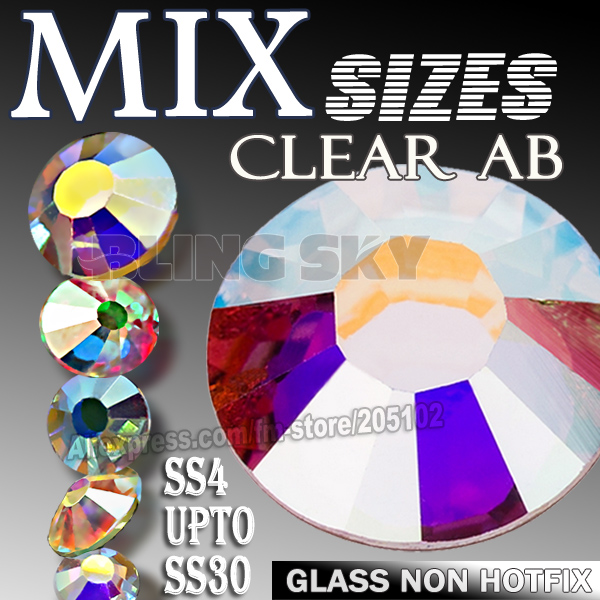 Effacer AB Mix Tailles SS3-SS10 SS4-SS30 Ongle Strass Non HotFix cristal strass brille pour DIY ongles art design décor manucure