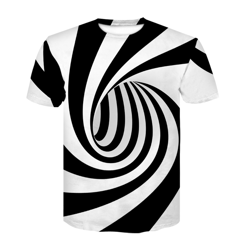 2019 new black and white striped vortex print summer half sleeve o-collar T-shirt, fashion trend and personality T-shirt
