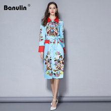 Banulin Hot 2018 High Quality Autumn Designer Runway Jacket Coat Womens Long Sleeve Single Breasted Vintage Printed Outerwear