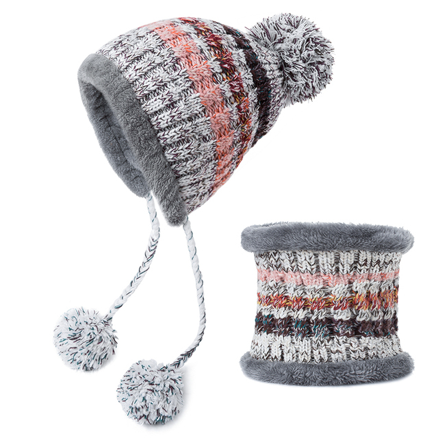 f2541aa83 MLTBB Pompoms Women Winter Hat Scarf Set Girls Boys Warm Knitted Caps  Scarves Men Female Sets