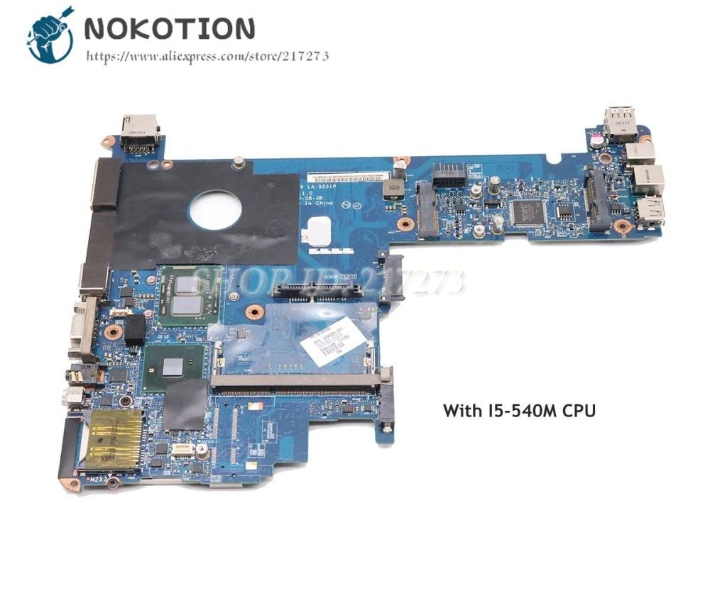 NOKOTION 598764-001 KAT10 LA-5251P For HP Elitebook 2540P Laptop Motherboard I5-540M CPU GMA HD DDR3NOKOTION 598764-001 KAT10 LA-5251P For HP Elitebook 2540P Laptop Motherboard I5-540M CPU GMA HD DDR3