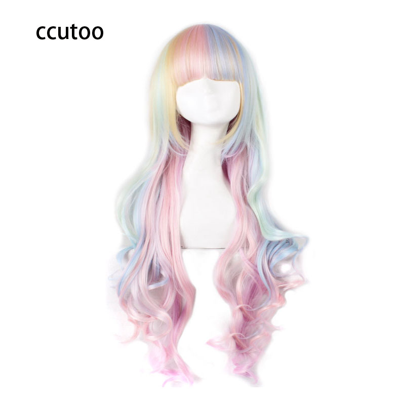 "ccutoo 38 ""Wavy Long High Temperature Fiber Syntetisk Hair Cosplay Full Paryk Kvinnors Party Parykar"