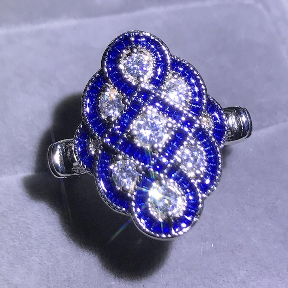 Hot Sale Chinese Knot Ring White Blue Zircon Ring Female Ring Chinese style 2019 New in Rings from Jewelry Accessories