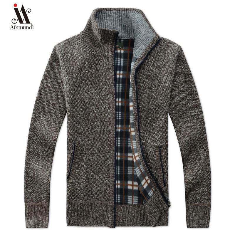 New Men's Sweaters Autumn Winter Warm Cashmere Wool Zipper Cardigan Sweaters Man Casual Knitwear Sweatercoat Male Clothe 2019