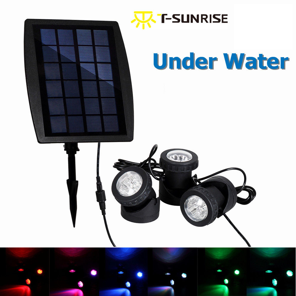T-SUNRISE LED Solar Powered RGB LED Underwater Lights Spot Light Waterproof  IP68 Outdoor Garden 3 Lamps for Garden Landscape hot sale single dx5 ink pump assembly for flora versacamm leopard large format printer machine