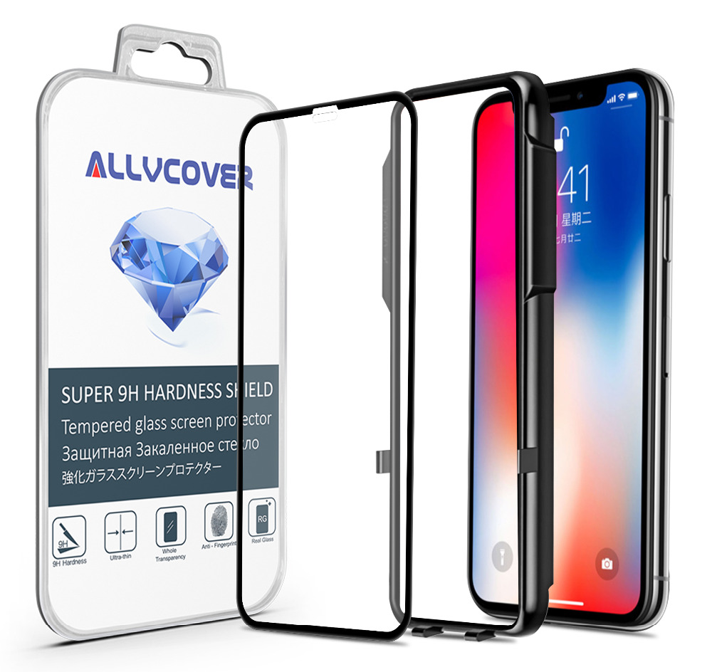 Allvcover 5D Tempered Glass For iPhone X Screen Protector Anti Dust Front Glass Film For iPhone 10 With Gift Installation Tool