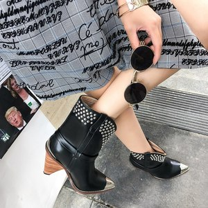 Image 5 - Punk shoes Microfiber leather Boots women metal rivets studded high quality Ankle Boots pointed toe middle heel botas mujer