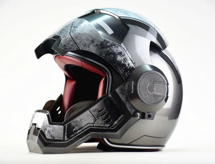 Moto biker Full Face Helmet Iron Man personality special fashion half open face motocross helmets in Helmets from Automobiles Motorcycles