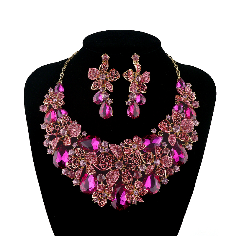 New Bridal Wedding jewellery set statement necklace earring Fuchsia Pink Rhinestone Crystal Jewelry Women Party Accessories m american vintage wall lamp indoor lighting bedside lamps wall lights for home stair lamp