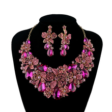 New Bridal Wedding jewellery set statement necklace earring Fuchsia Pink Rhinestone Crystal Jewelry Women Party Accessories