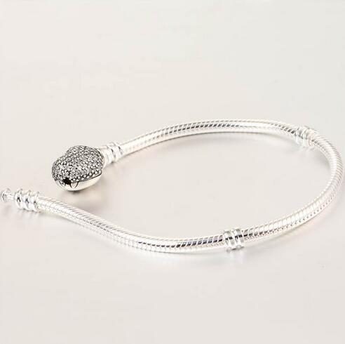 Bracelets en argent sterling 925 Bracelet serpent européen avec fermoir coeur en zircon cubique pour femmes et hommes bijoux bricolage YL018 - 4