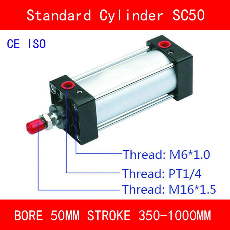 CE ISO SC50 Air Cylinders Valve Magnet Bore 50mm Strock 350 to 1000mm Stroke Single Rod Double Acting Pneumatic Cylinder sc100 standard air cylinders valve ce iso bore 100mm strock 350mm to 1000mm stroke single rod double acting pneumatic cylinder