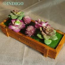 INDIGO- Purple Artificial Succulent Plant (6pcs +1 Wood Tray)/Set Bonsai Table Decoration Free Shipping