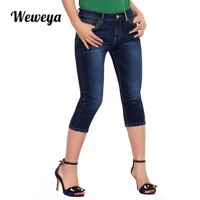 bf182a7f194 Weweya Skinny Jeans Women Denim Capris Pants High Waist Jeans Woman Stretch  Slim Jeans Plus Size Calf Length Jeans
