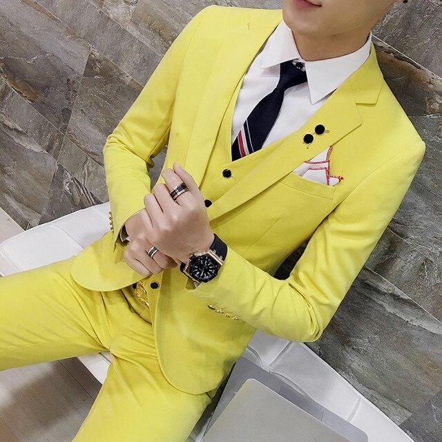 ( Jackets + Vest + Pants ) Men's Fashion Boutique High-end Wedding Dress Three-piece Suits Solid Color Men Formal Business Suits
