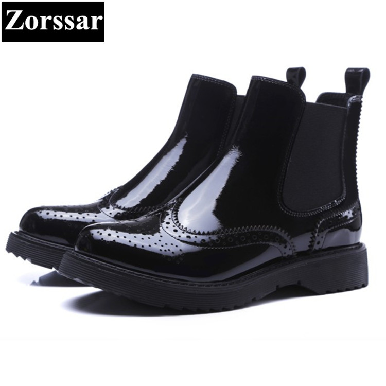 Фотография {Zorssar} 2018 NEW Fashion patent leather Women Boots Low heel platform British style slip on ankle Martin boots female shoes
