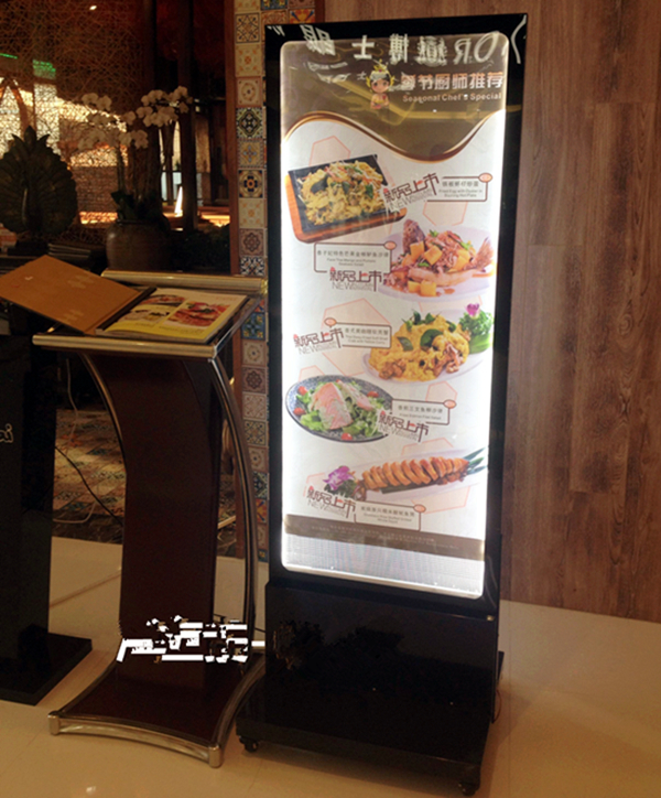 Restaurant Outdoor Stand Led Menu Boards Movable Double