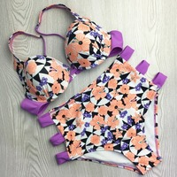 2017 Orange With Purple Floral Girls High Waisted Bikini Best Quality Women Cover Ups Tankini Elastic