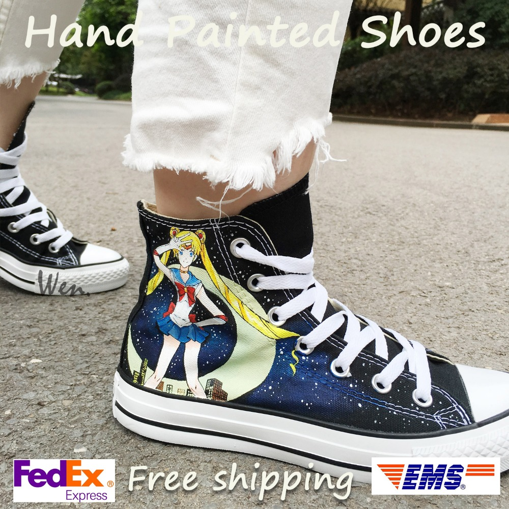 Wen Hand Painted Womens Shoes Design Custom Sailor Moon Black High Top Man Womans Canvas Sneakers for Christmas Gifts