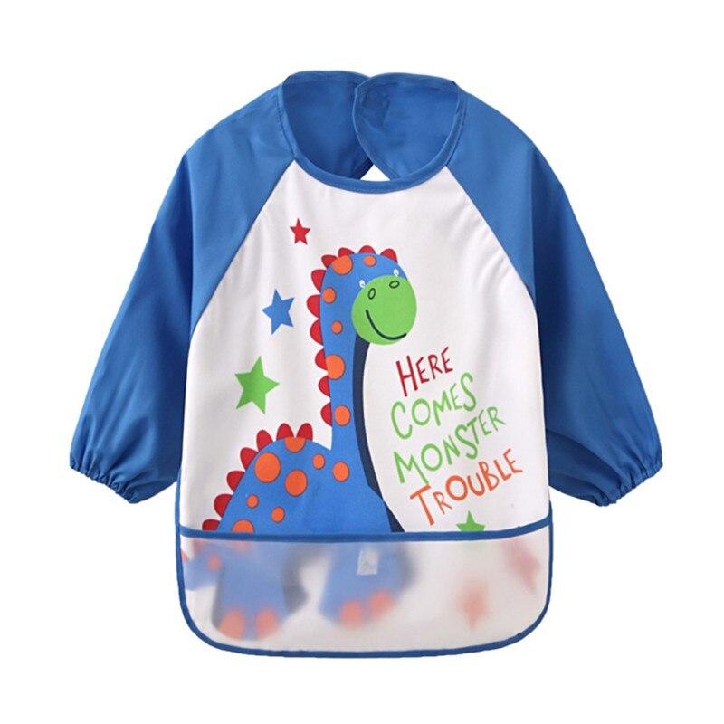 Новорожденных детей; Водонепроницаемый ребенок ест карман мальчики девочки милый мультфильм нагрудником с длинным рукавом нагрудник анти-...