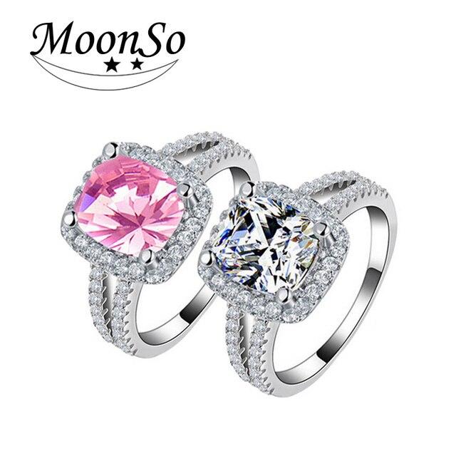 Moonso 925 en argent sterling bague de fiançailles o doigt anel anéis de diamante pour les femmes de mariage bijoux pur r1507