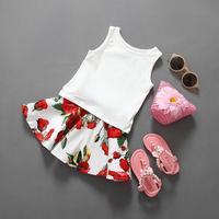 2-6Y Mode 2016 D'été coton jersey Tops + Imprimé floral Jupe Filles Vêtements Ensembles Deux Pièces Tenues Princesse Enfants Vêtements