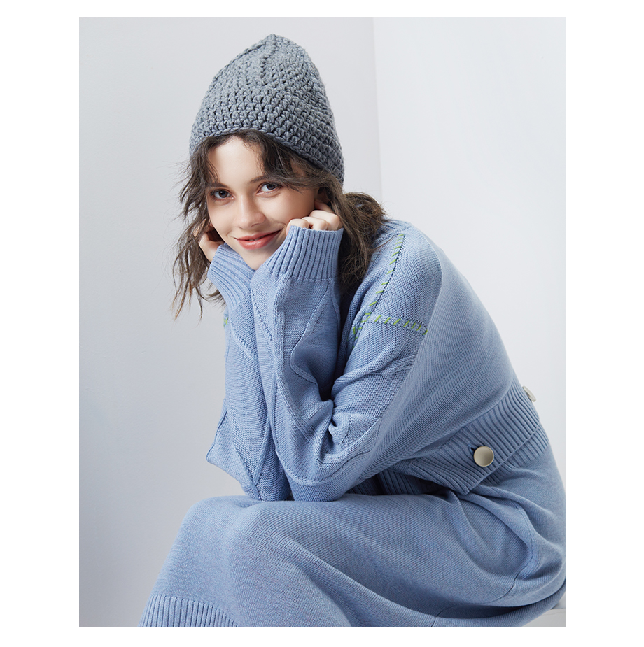 a6552573af5d6 ... Handmade Knitting Wool Hat Female Winter Beanie Ladies Warm Coarse Hats  2018 New Autumn Bobble Caps ...