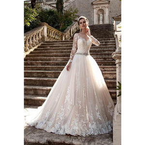 Image 2 - Vintage Scoop Wedding Dresses Long Illusion Sleeves Lace Applique Beading Waist Sweep Train Bridal Gown Dress with Back Buttons
