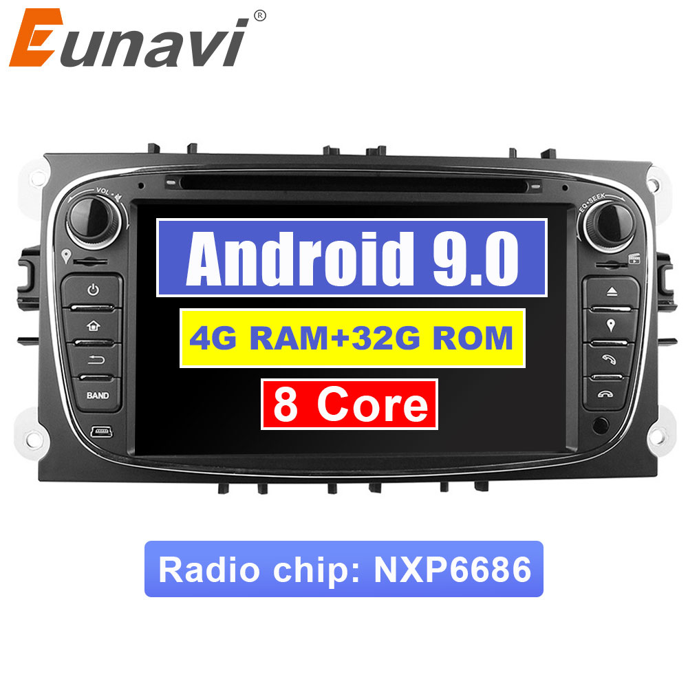 Eunavi 2 Din 7 Android 9.0 Octa Core Car DVD Player DAB+ WiFi 4G Canbus Online Map GPS Navigator for Ford Focus II Mondeo S Max