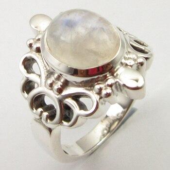 7cdcc5921765 Anillo de piedra lunar Arco Iris Sz 6 joyería de mujer de plata diseño único