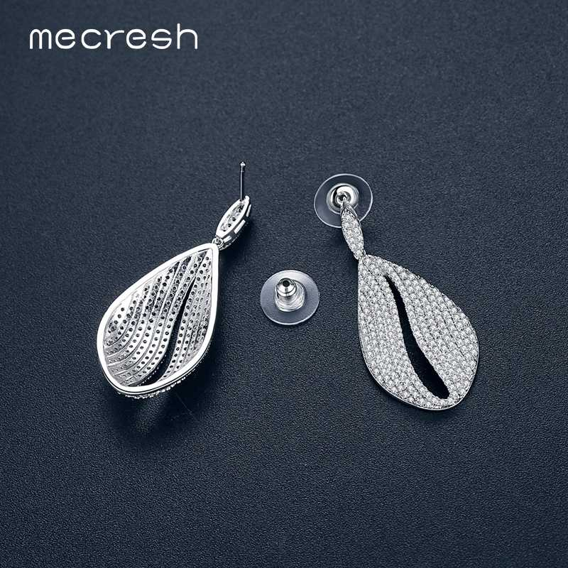 Mecresh Korean Micro Round CZ Teardrop Women Dangle Earrings 2018 Luxury Bride Earrings Fashion Wedding Jewelry Christmas EH1106