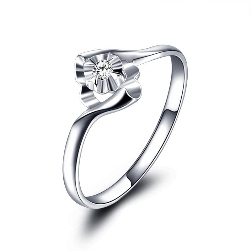 Weiß Hochzeit Heiratsantrag Diamant Ring Echte Authentische Platin Diamant Ring 18 Karat...