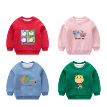 The new cotton long-sleeved T-shirt boys and girls fashion many color cartoon T-shirt round neck sweater thick warm warm