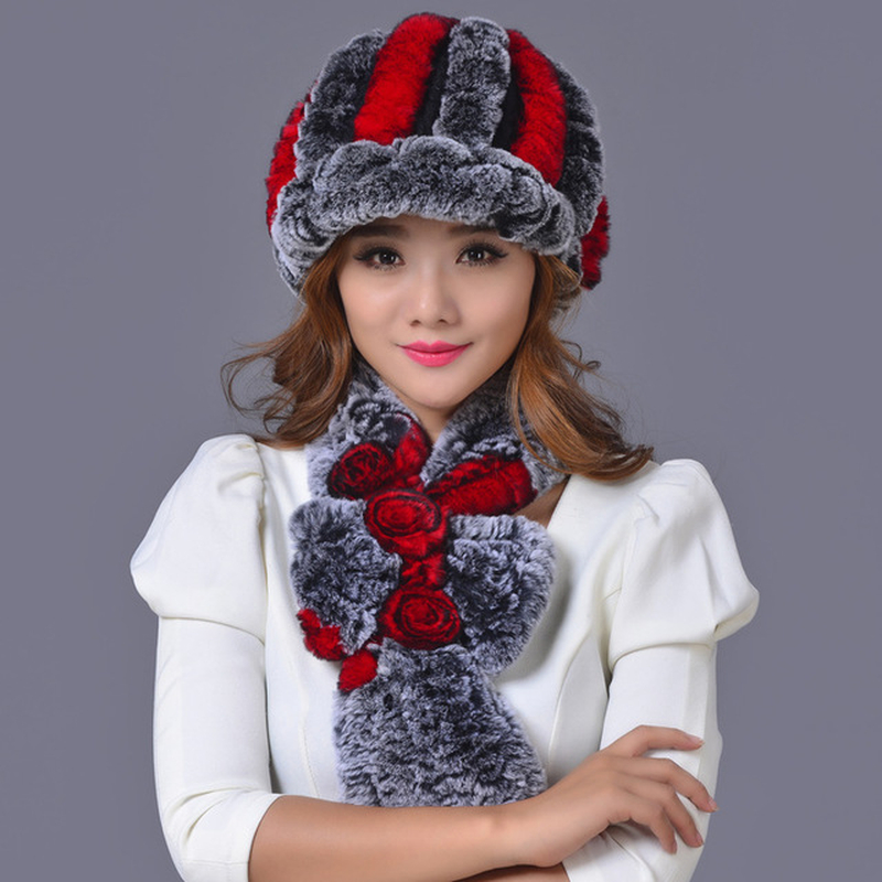 Maylooks Winter Beanies Fur Hat For Women Knitted Rex Raccoon Fur Hat With Scarf Shawl 1set Free Size Casual Women's Hat